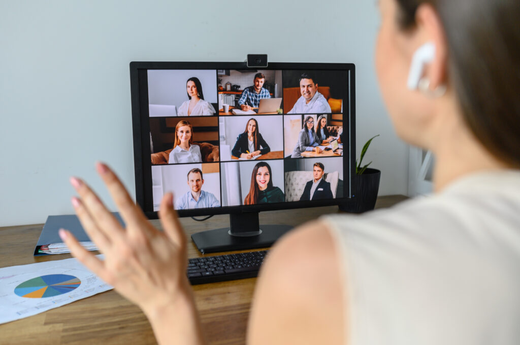 Woman on conference video call