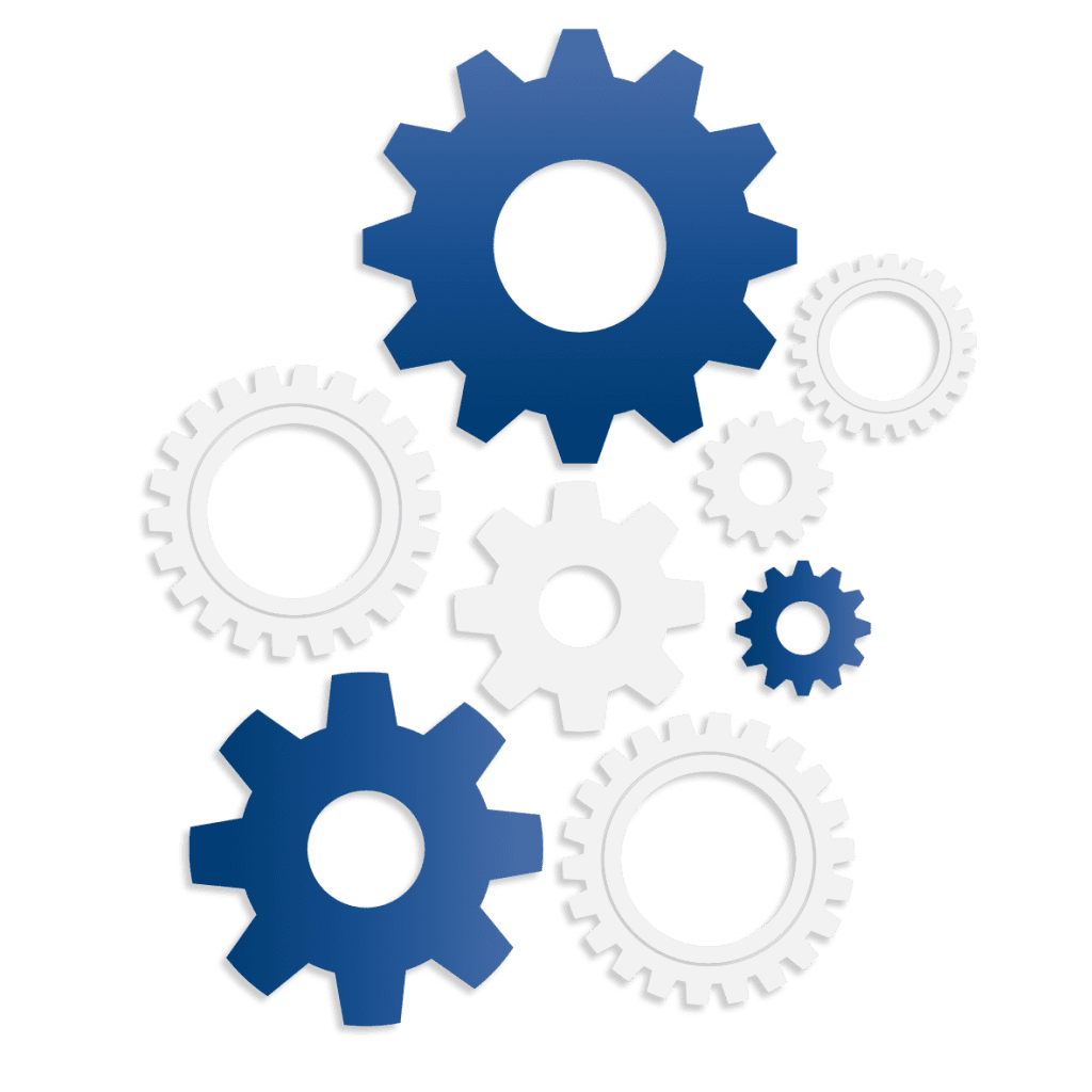Blue and white cogs